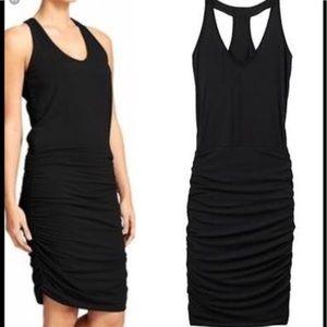 Athleta Ember Black Racerback Ruched Dress